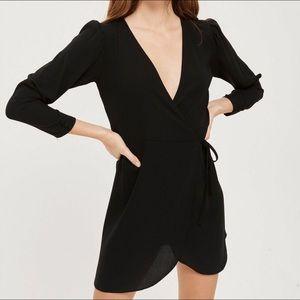 TOPSHOP Black Mini Wrap Dress Size 6
